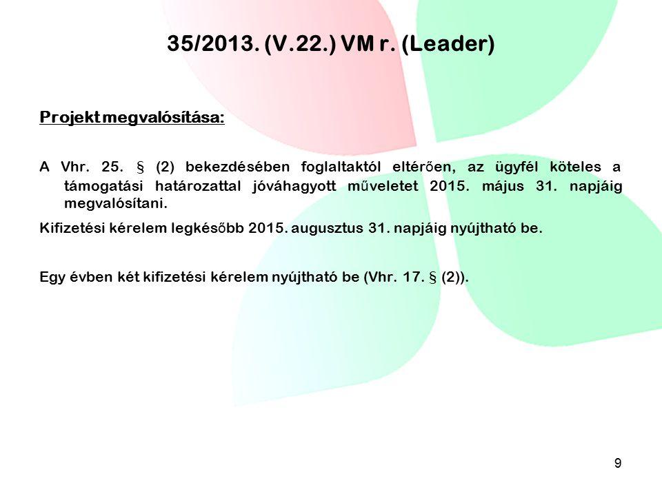 35/2013. (V.22.) VM r. (Leader) Projekt megvalósítása: