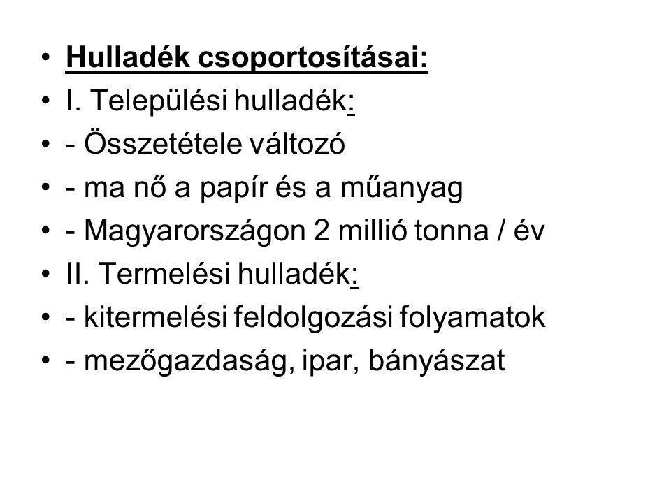 Hulladék csoportosításai: