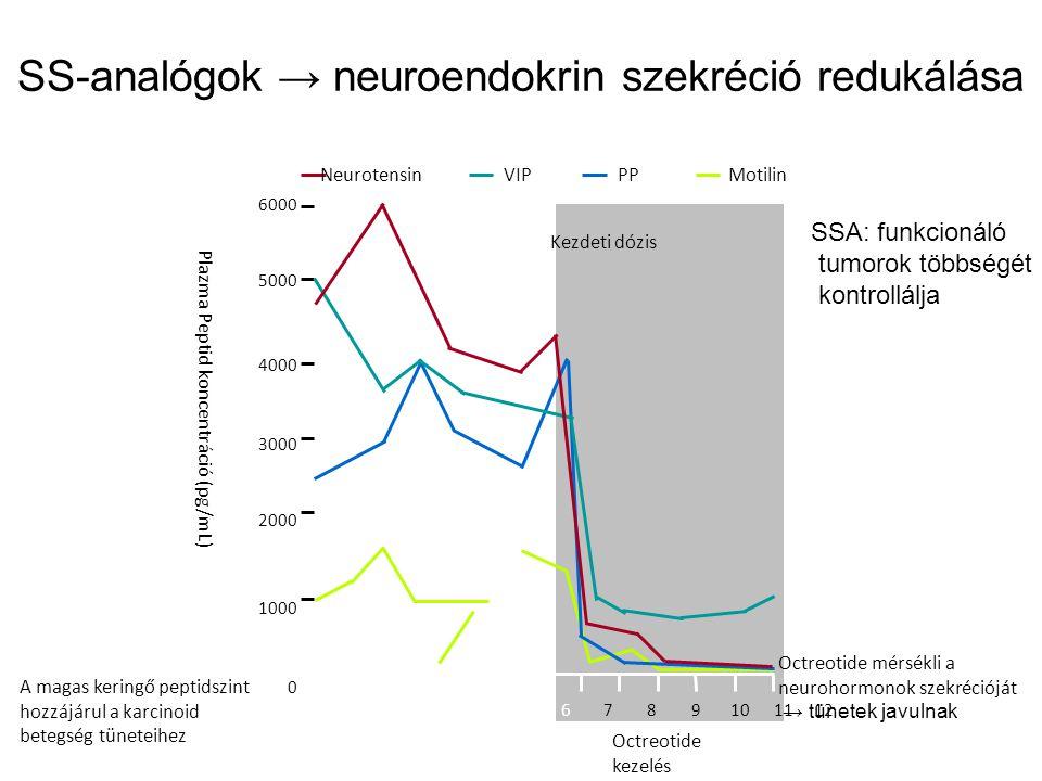 SS-analógok → neuroendokrin szekréció redukálása