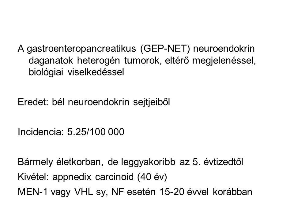 A gastroenteropancreatikus (GEP-NET) neuroendokrin daganatok heterogén tumorok, eltérő megjelenéssel, biológiai viselkedéssel