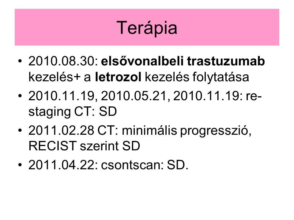 Terápia 2010.08.30: elsővonalbeli trastuzumab kezelés+ a letrozol kezelés folytatása. 2010.11.19, 2010.05.21, 2010.11.19: re- staging CT: SD.