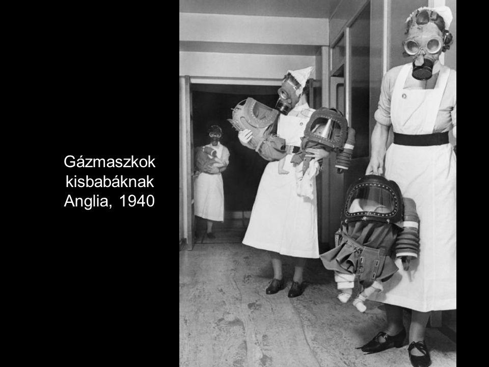 Gázmaszkok kisbabáknak Anglia, 1940