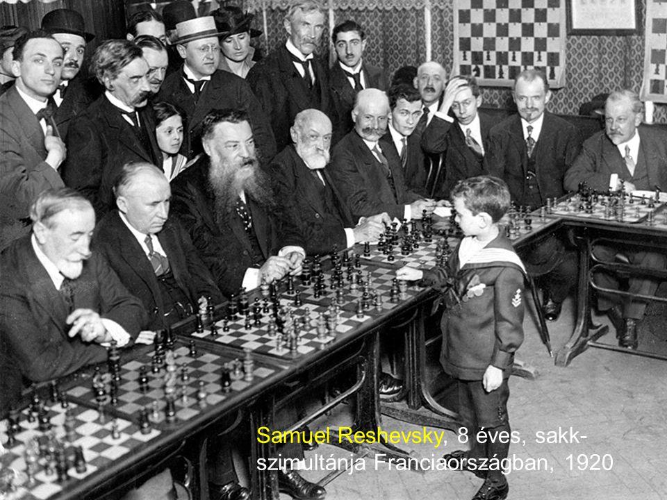 Samuel Reshevsky, 8 éves, sakk-szimultánja Franciaországban, 1920
