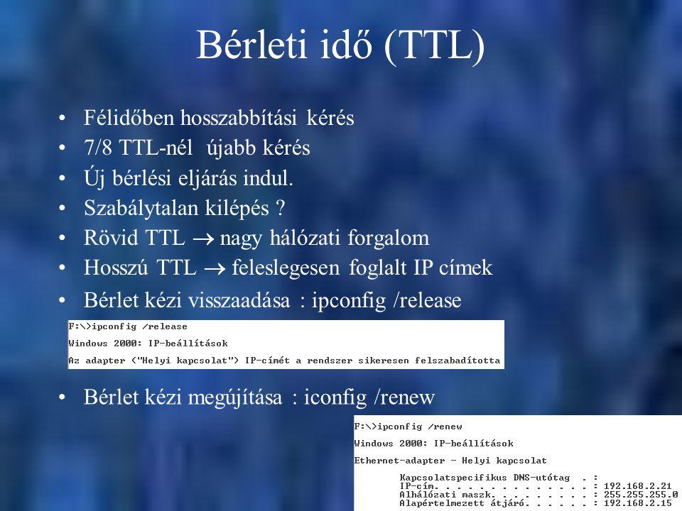 Bérleti idő (TTL) Félidőben hosszabbítási kérés