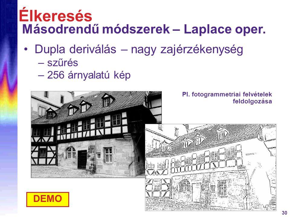 Élkeresés Másodrendű módszerek – Laplace oper.