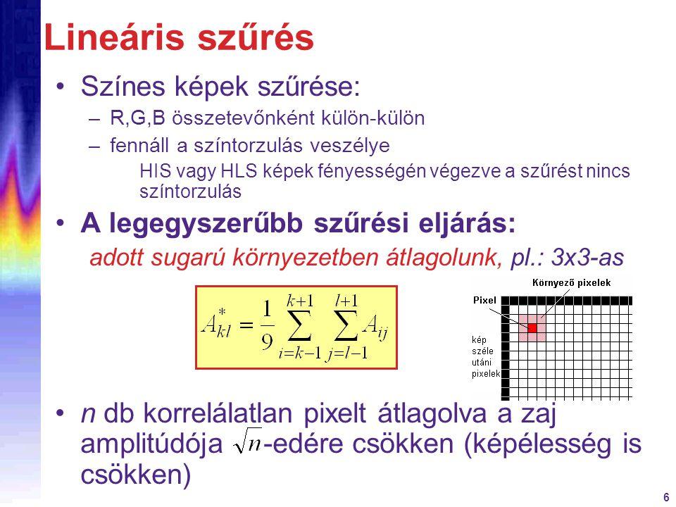 Lineáris szűrés Színes képek szűrése: A legegyszerűbb szűrési eljárás: