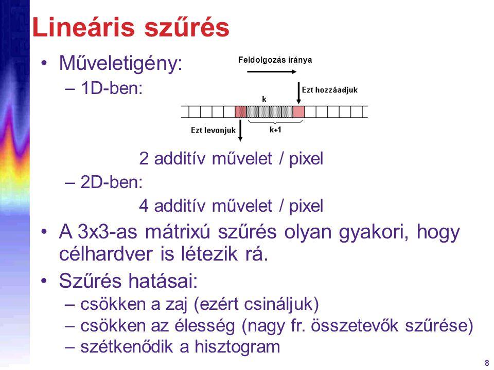 Lineáris szűrés Műveletigény:
