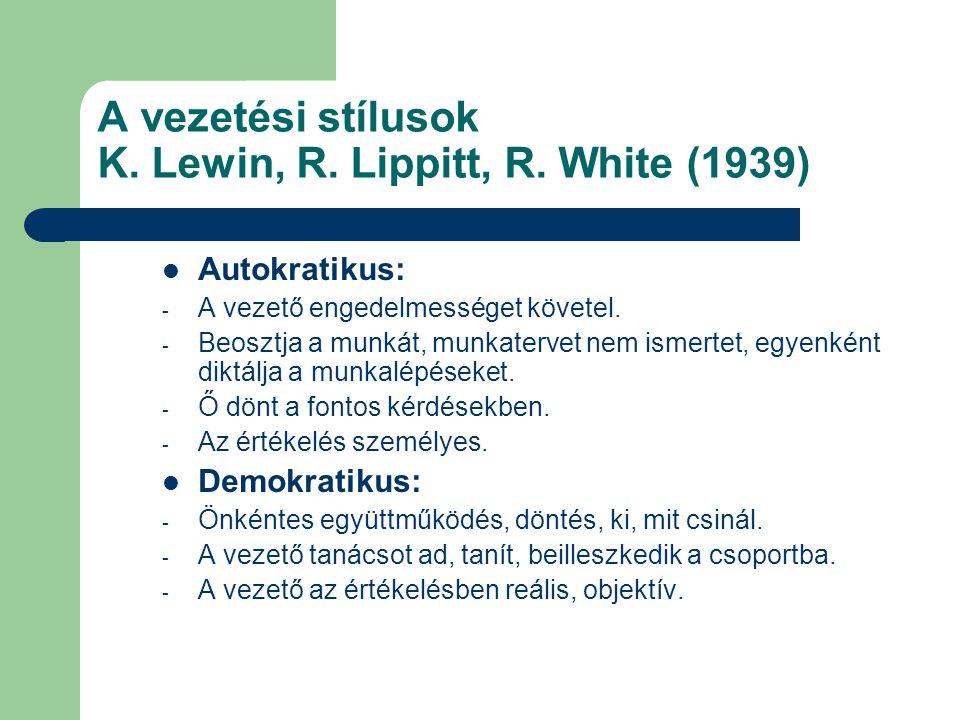 A vezetési stílusok K. Lewin, R. Lippitt, R. White (1939)