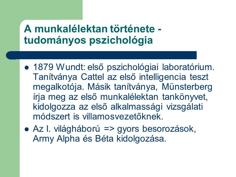 A munkalélektan története - tudományos pszichológia