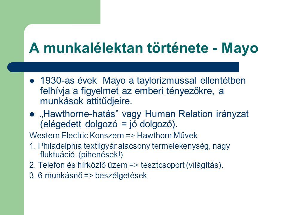 A munkalélektan története - Mayo