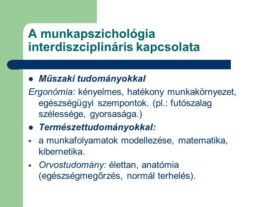 A munkapszichológia interdiszciplináris kapcsolata