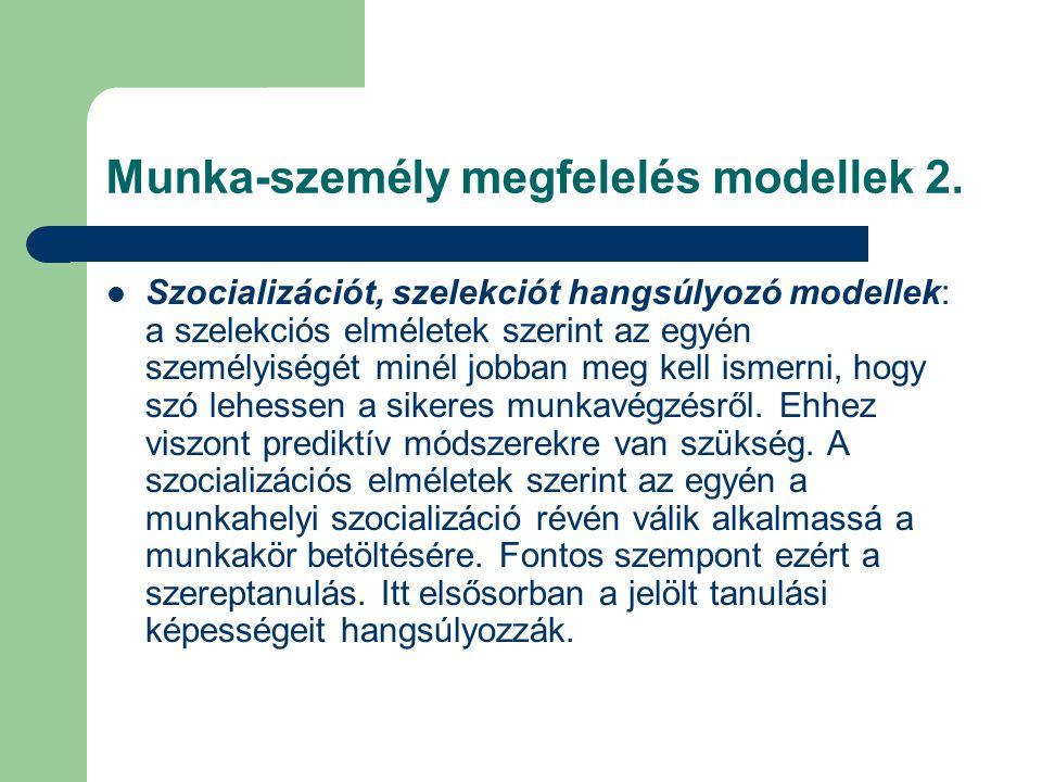 Munka-személy megfelelés modellek 2.