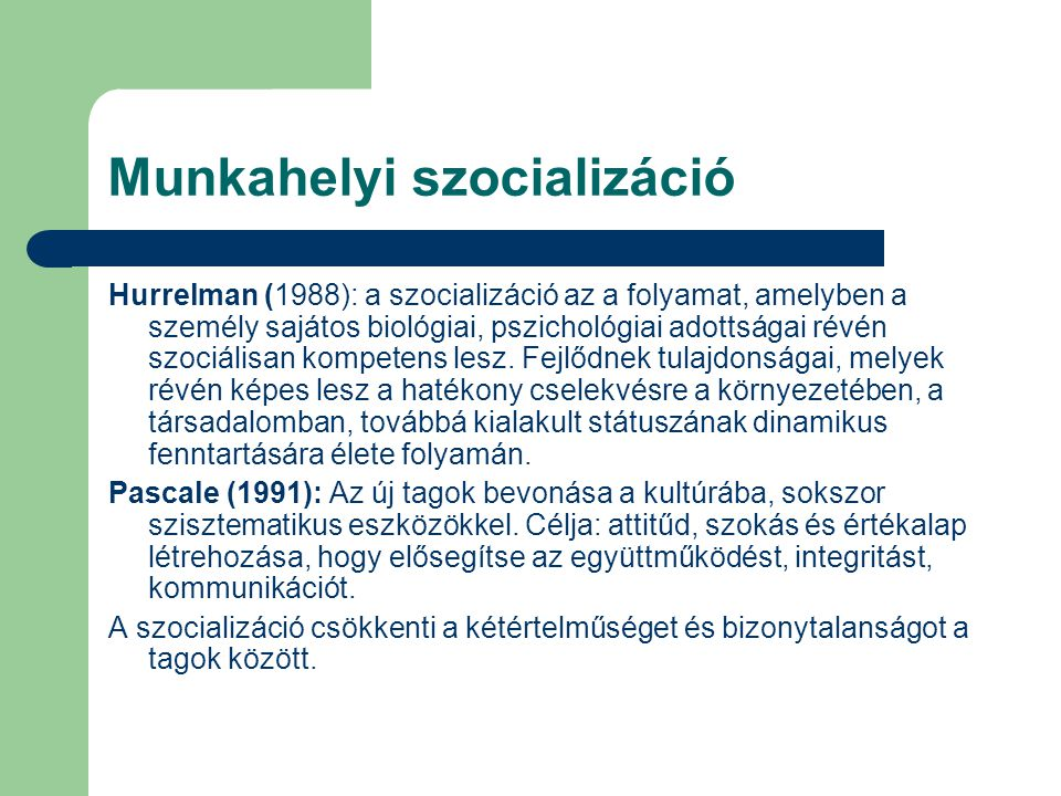 Munkahelyi szocializáció