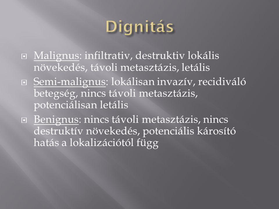 Dignitás Malignus: infiltrativ, destruktiv lokális növekedés, távoli metasztázis, letális.