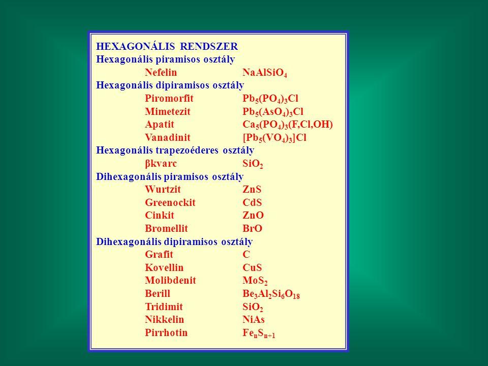 HEXAGONÁLIS RENDSZER Hexagonális piramisos osztály. Nefelin NaAlSiO4. Hexagonális dipiramisos osztály.