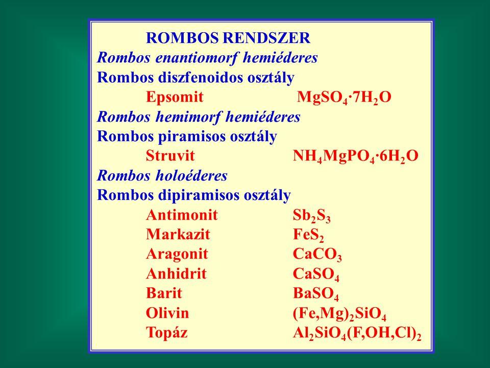 ROMBOS RENDSZER Rombos enantiomorf hemiéderes. Rombos diszfenoidos osztály. Epsomit MgSO4·7H2O.