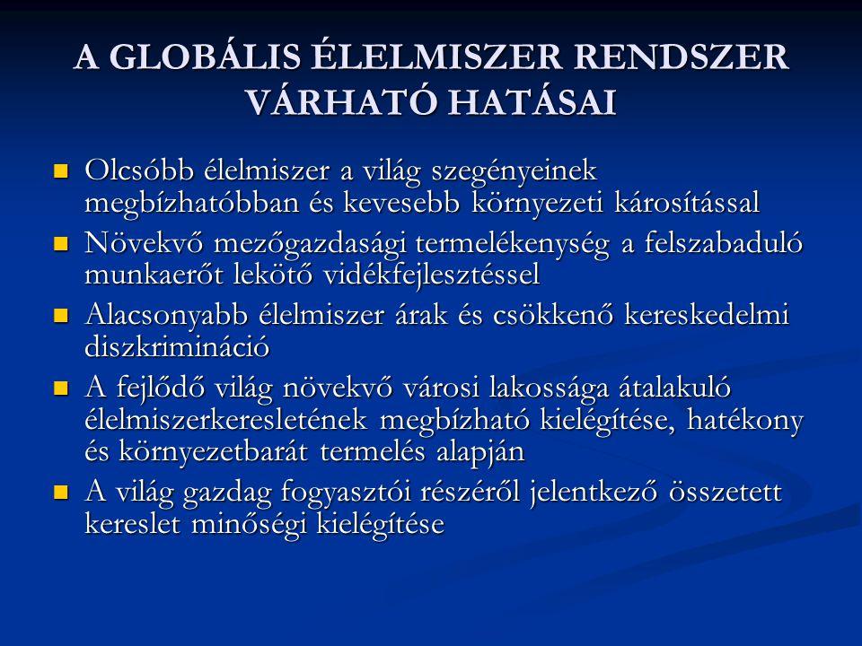 A GLOBÁLIS ÉLELMISZER RENDSZER VÁRHATÓ HATÁSAI