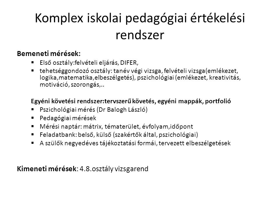 Komplex iskolai pedagógiai értékelési rendszer