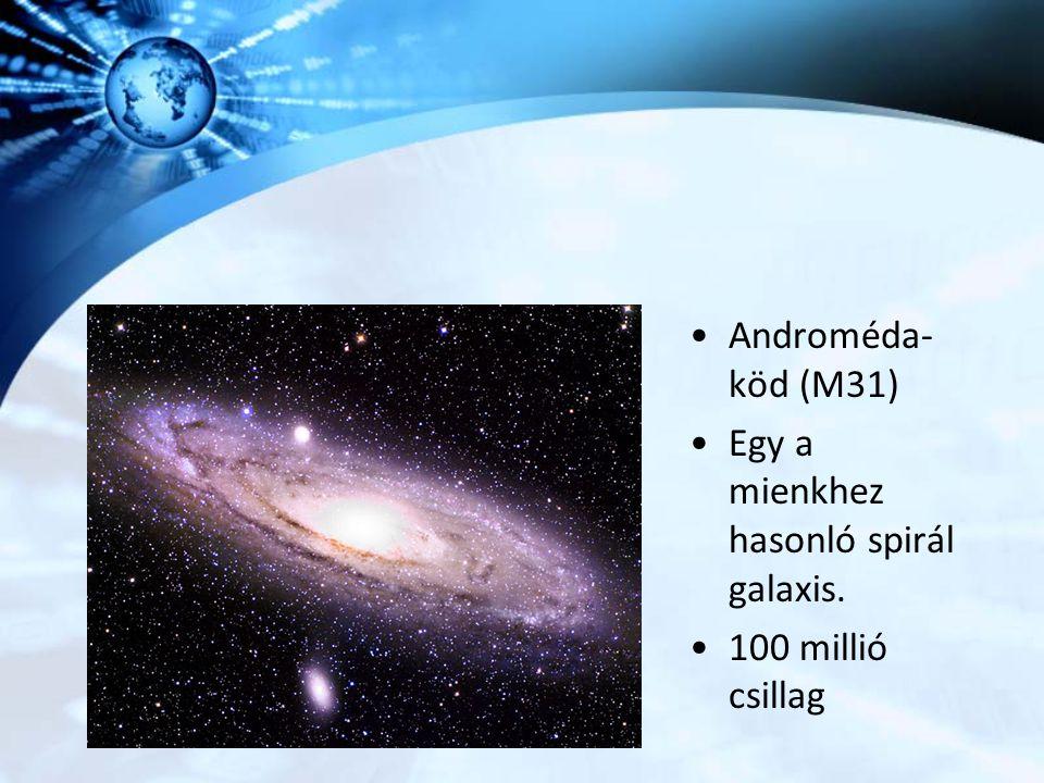Androméda-köd (M31) Egy a mienkhez hasonló spirál galaxis. 100 millió csillag