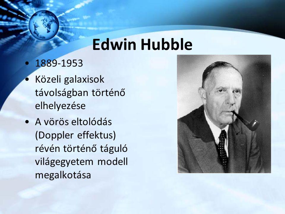 Edwin Hubble 1889-1953. Közeli galaxisok távolságban történő elhelyezése.