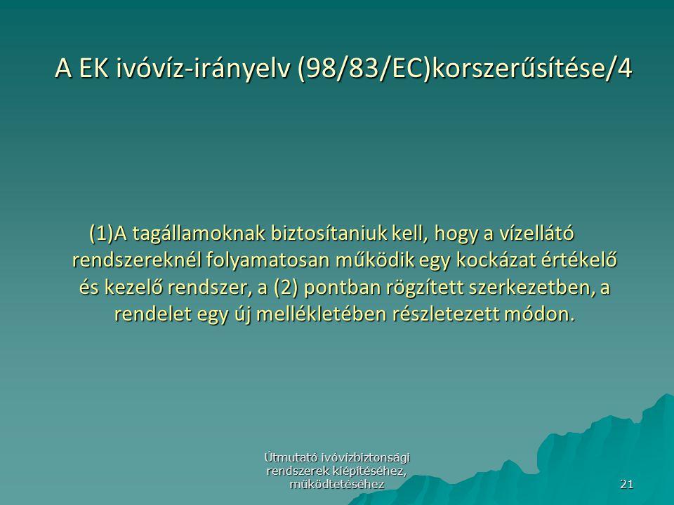A EK ivóvíz-irányelv (98/83/EC)korszerűsítése/4