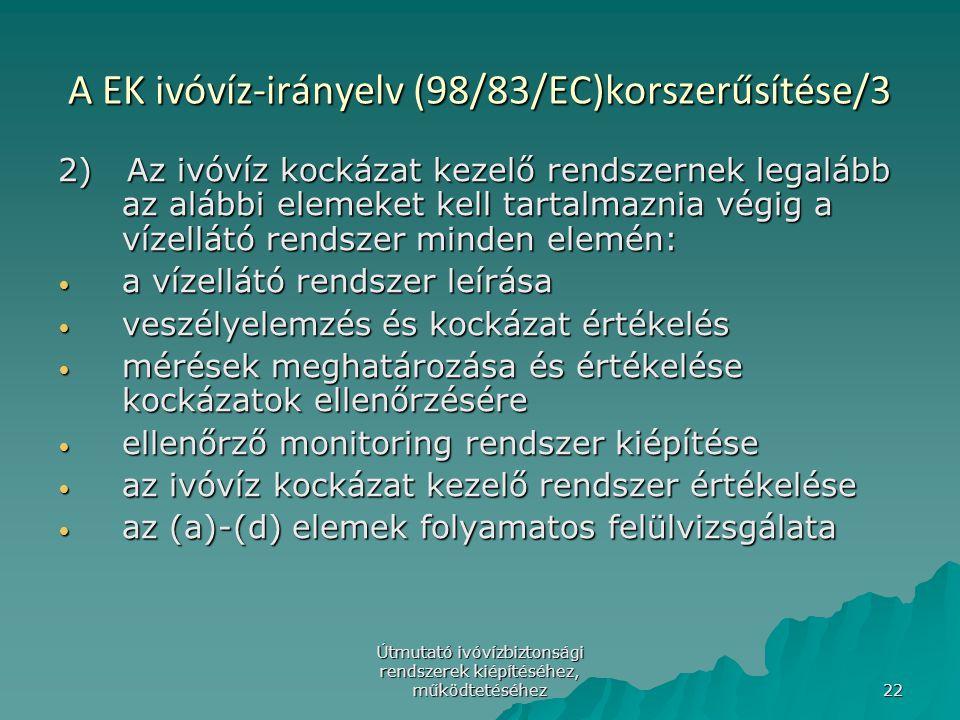 A EK ivóvíz-irányelv (98/83/EC)korszerűsítése/3