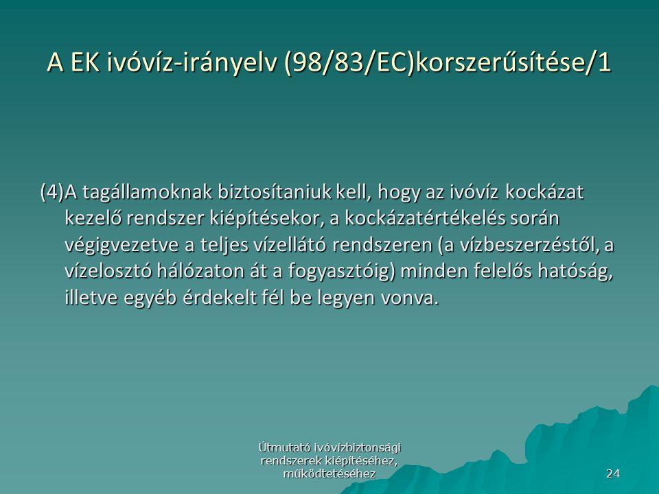 A EK ivóvíz-irányelv (98/83/EC)korszerűsítése/1