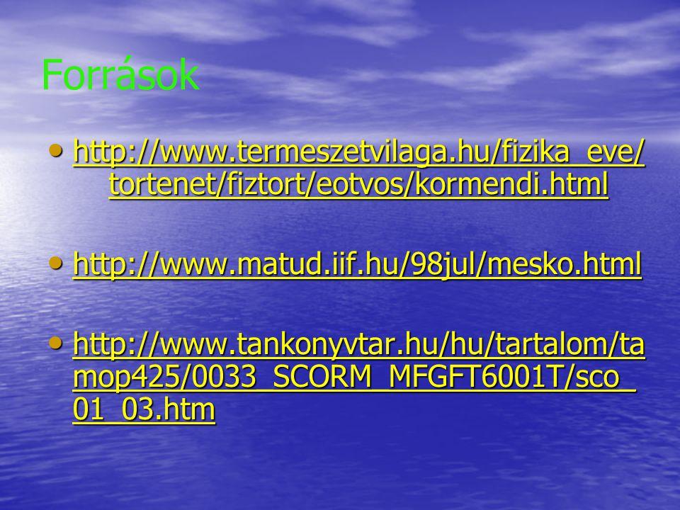 Források http://www.termeszetvilaga.hu/fizika_eve/tortenet/fiztort/eotvos/kormendi.html. http://www.matud.iif.hu/98jul/mesko.html.