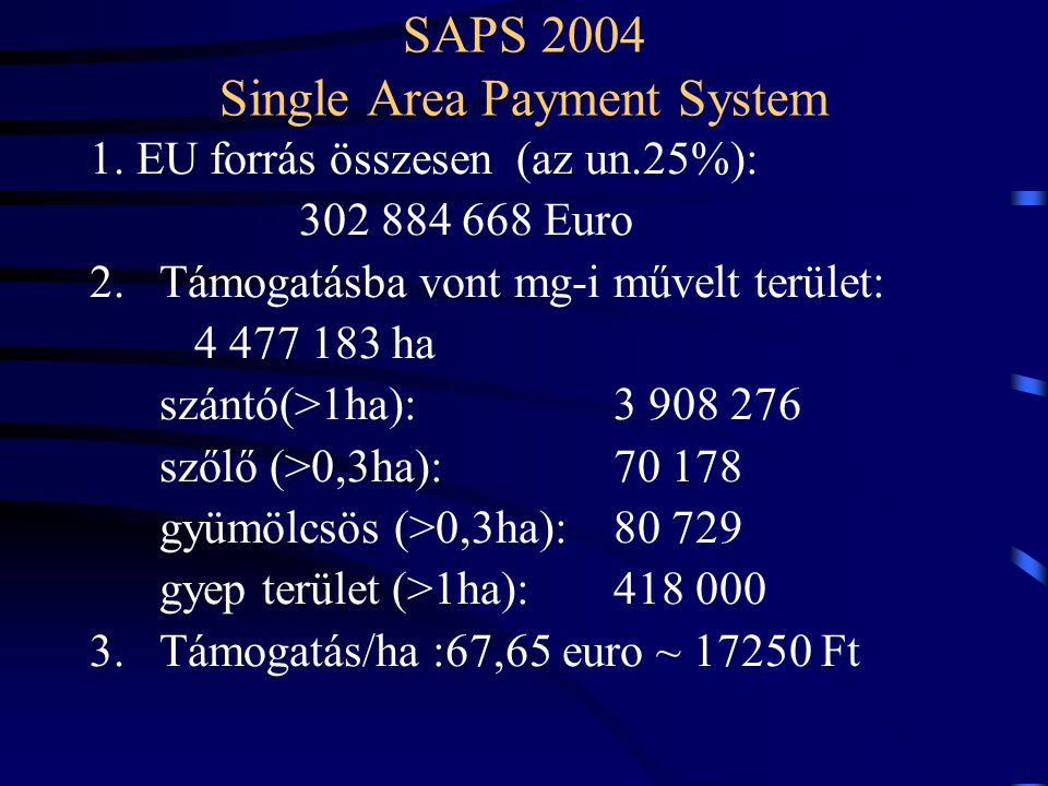 SAPS 2004 Single Area Payment System
