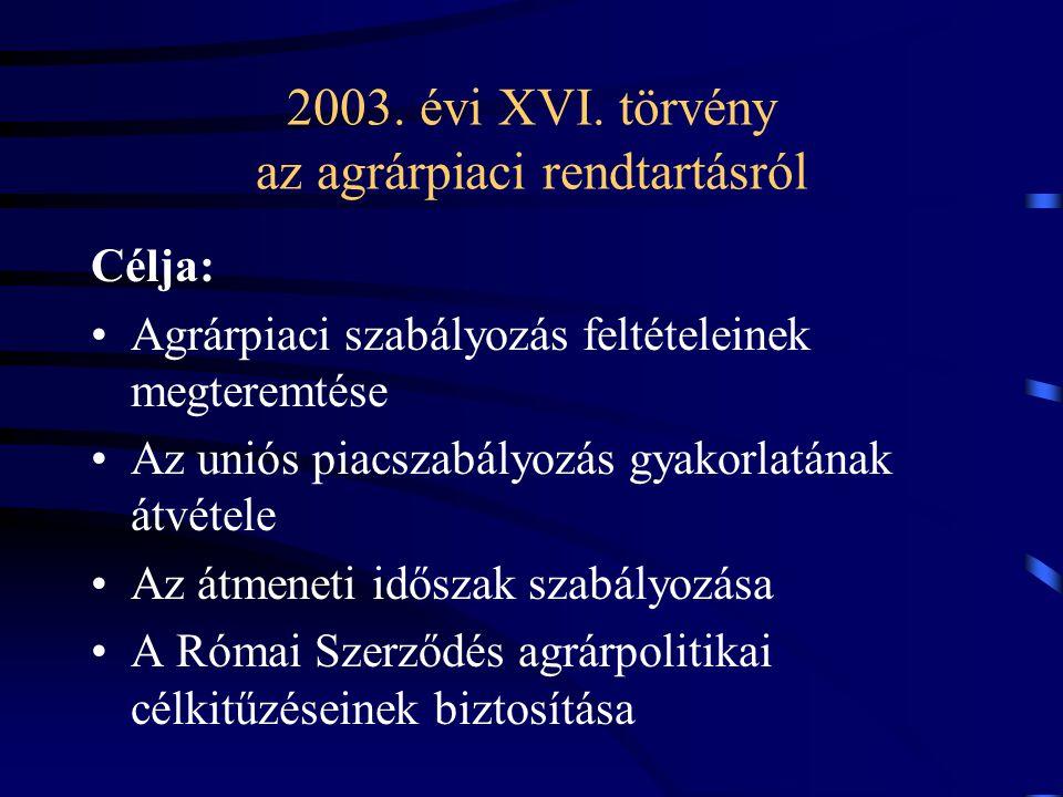 2003. évi XVI. törvény az agrárpiaci rendtartásról
