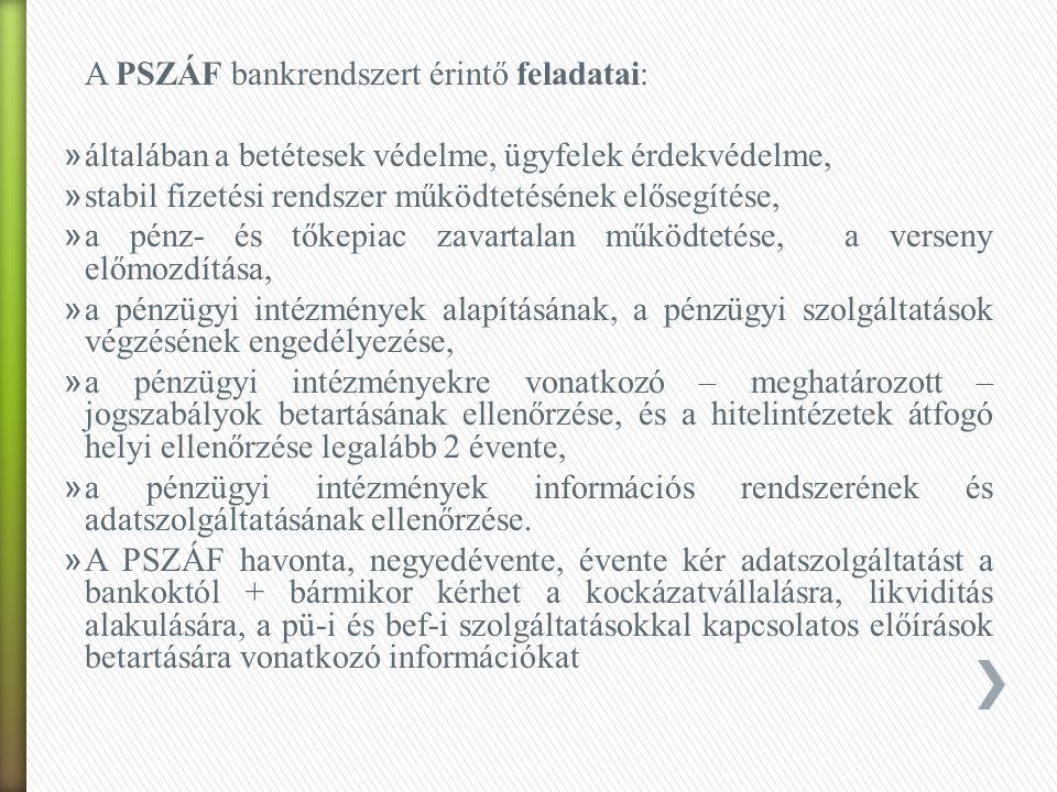 A PSZÁF bankrendszert érintő feladatai: