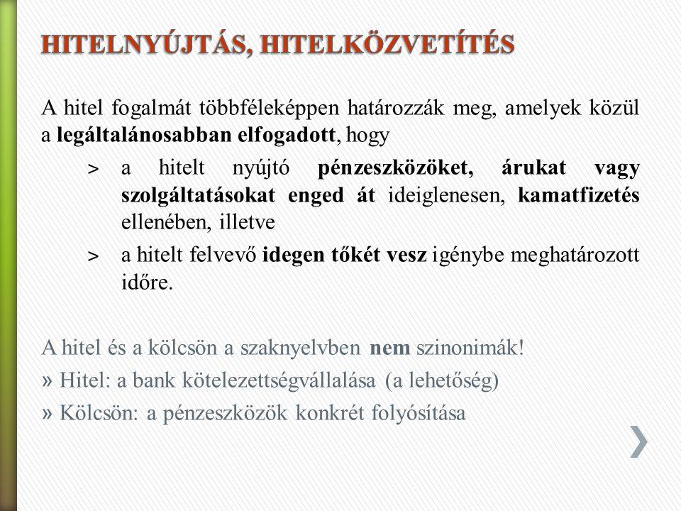 HITELNYÚJTÁS, HITELKÖZVETÍTÉS