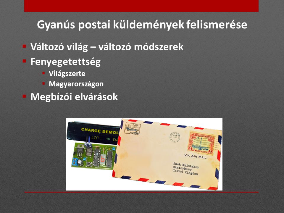 Gyanús postai küldemények felismerése