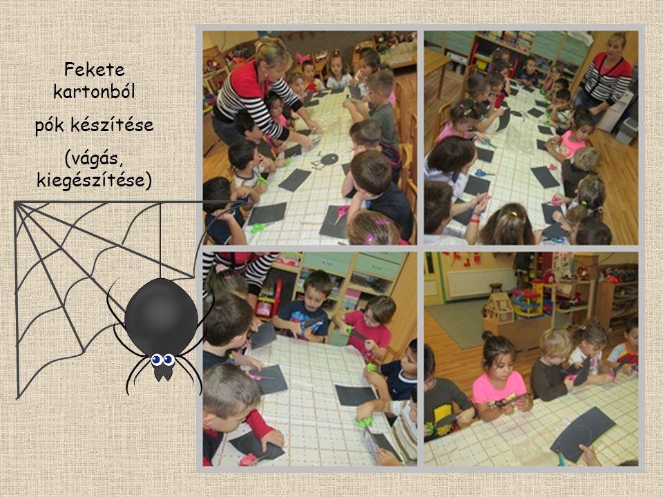 Fekete kartonból pók készítése (vágás, kiegészítése)