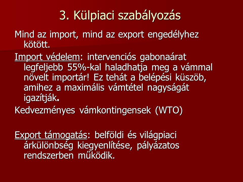 3. Külpiaci szabályozás Mind az import, mind az export engedélyhez kötött.