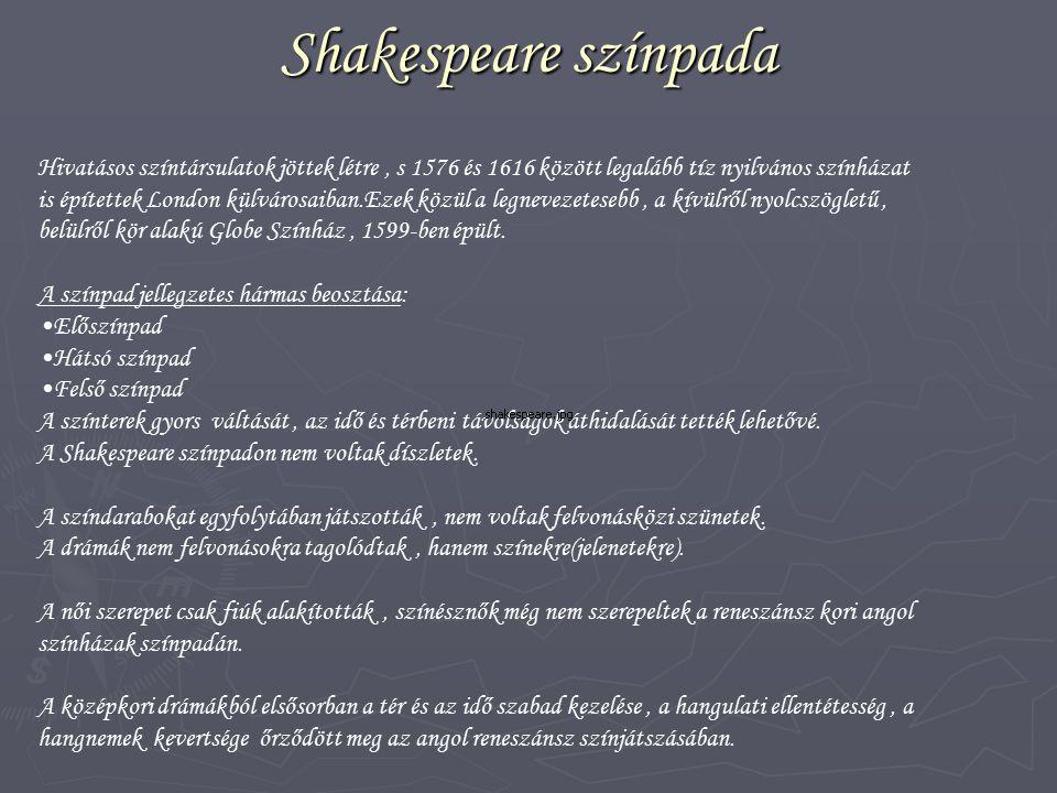 Shakespeare színpada Hivatásos színtársulatok jöttek létre , s 1576 és 1616 között legalább tíz nyilvános színházat.