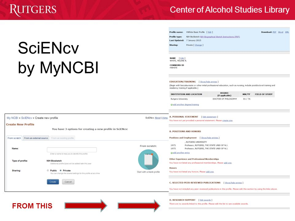 SciENcv by MyNCBI FROM THIS