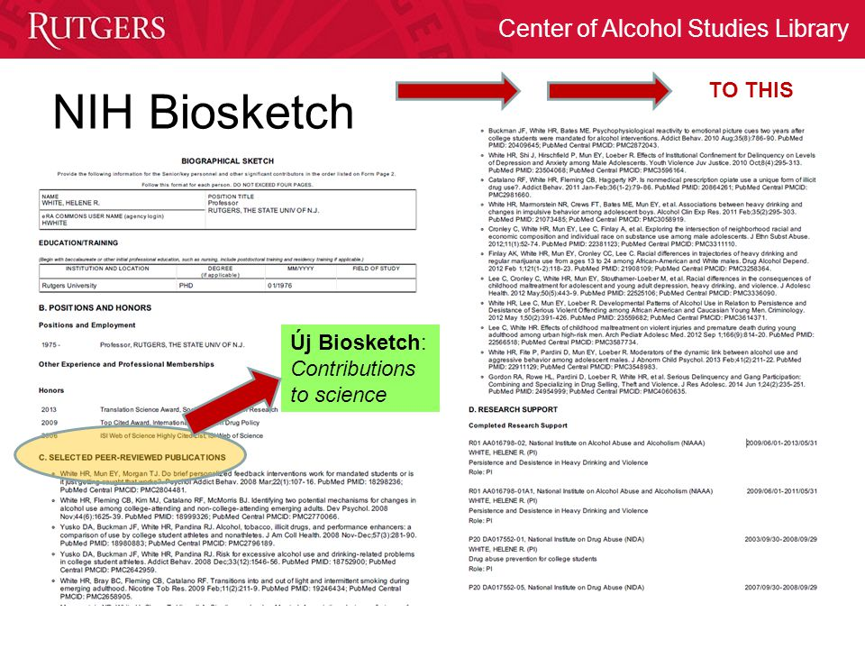 TO THIS NIH Biosketch Új Biosketch: Contributions to science