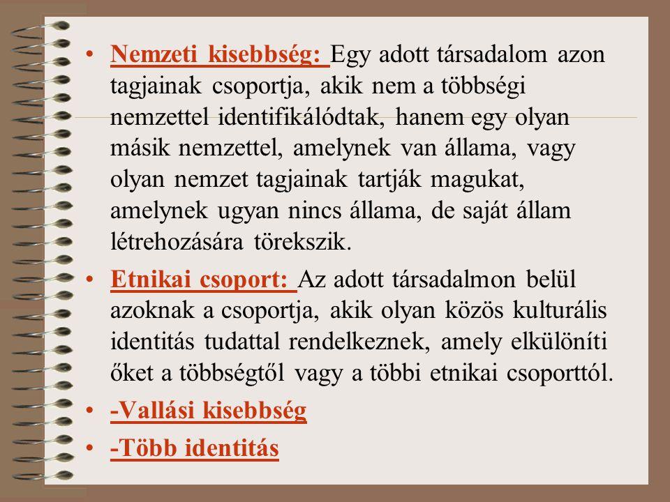 Nemzeti kisebbség: Egy adott társadalom azon tagjainak csoportja, akik nem a többségi nemzettel identifikálódtak, hanem egy olyan másik nemzettel, amelynek van állama, vagy olyan nemzet tagjainak tartják magukat, amelynek ugyan nincs állama, de saját állam létrehozására törekszik.