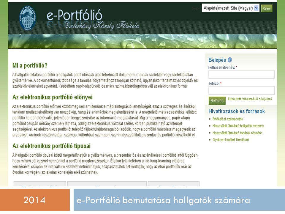 e-Portfólió bemutatása hallgatók számára