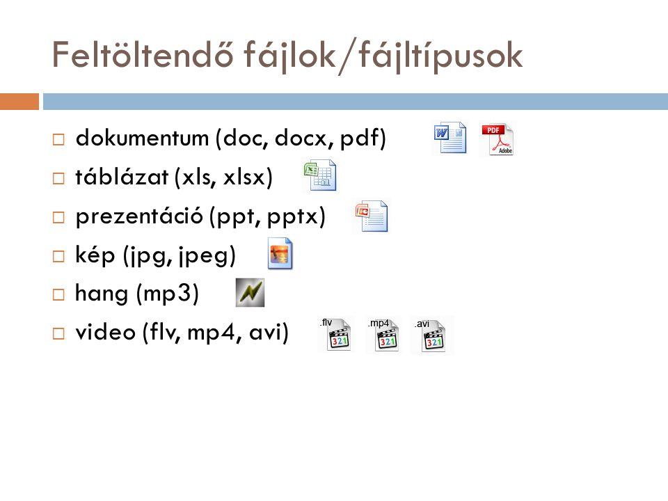Feltöltendő fájlok/fájltípusok