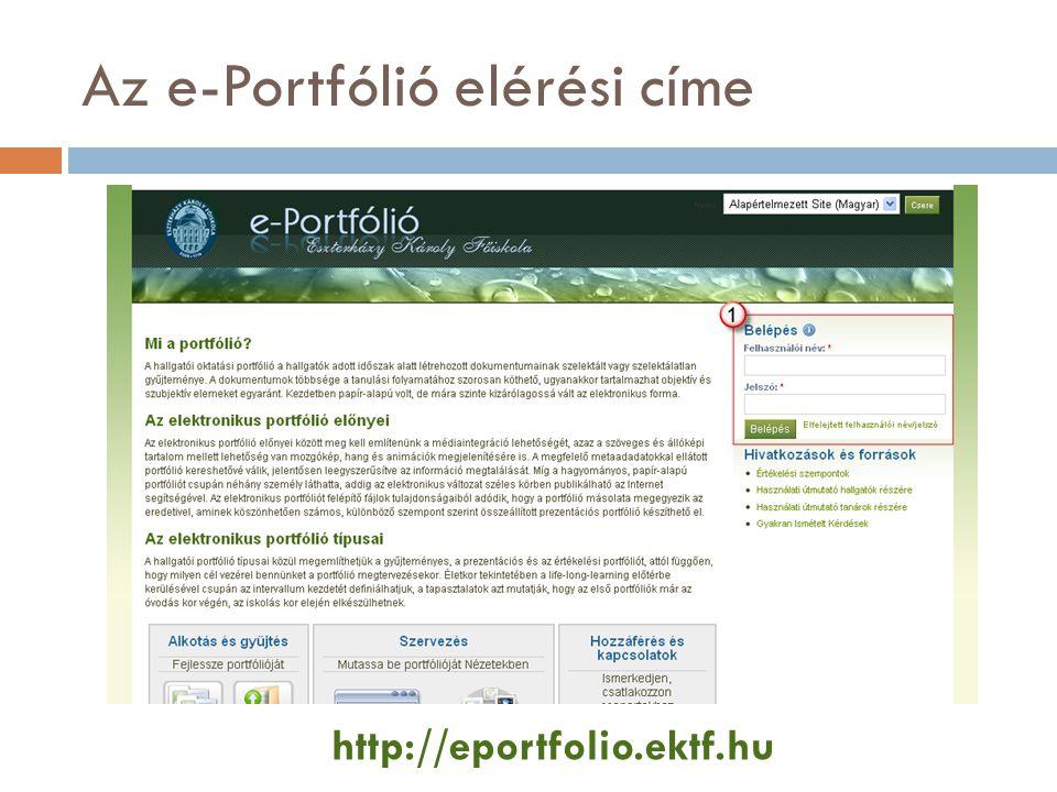 Az e-Portfólió elérési címe