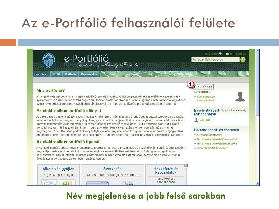 Az e-Portfólió felhasználói felülete