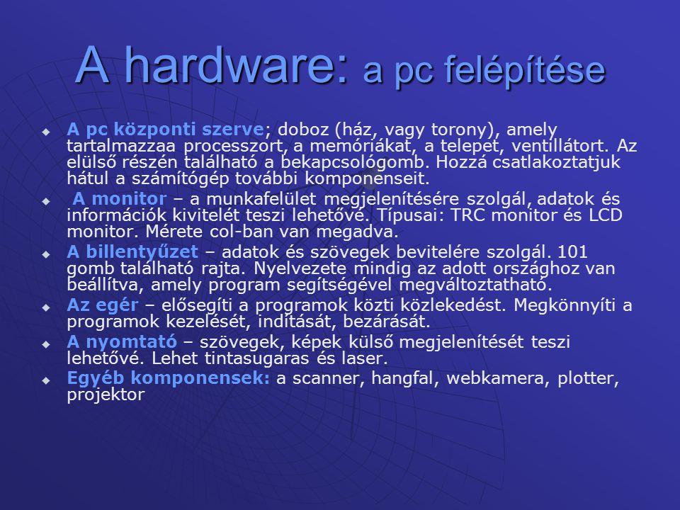 A hardware: a pc felépítése