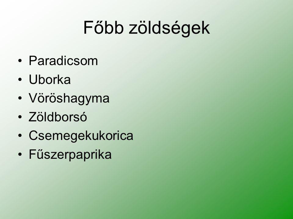 Főbb zöldségek Paradicsom Uborka Vöröshagyma Zöldborsó Csemegekukorica