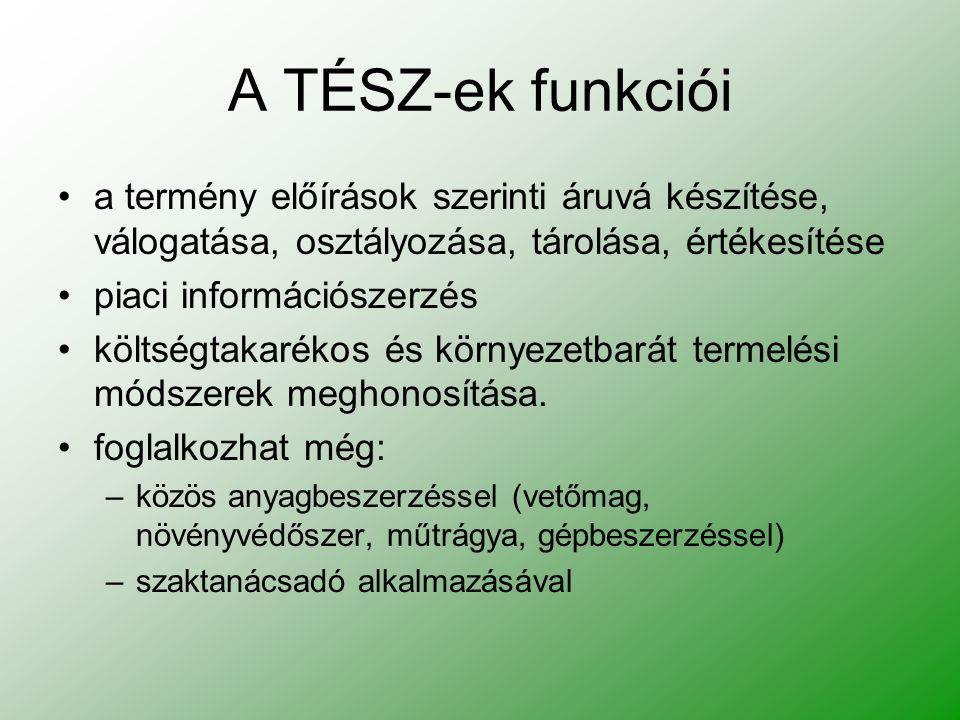 A TÉSZ-ek funkciói a termény előírások szerinti áruvá készítése, válogatása, osztályozása, tárolása, értékesítése.