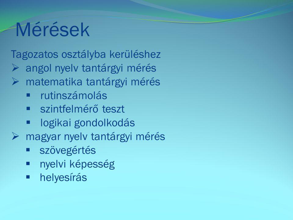 Mérések Tagozatos osztályba kerüléshez angol nyelv tantárgyi mérés