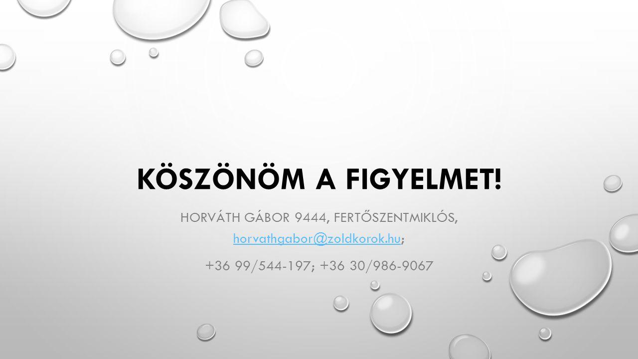Horváth Gábor 9444, Fertőszentmiklós, horvathgabor@zoldkorok.hu;