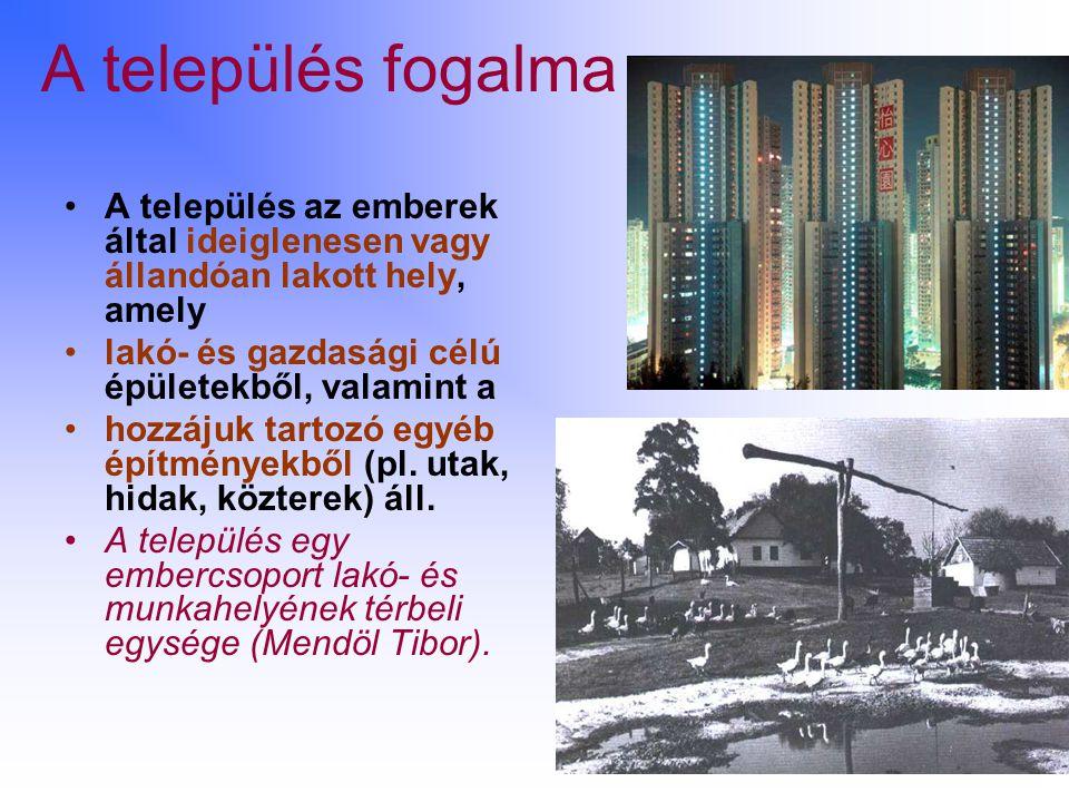 A település fogalma A település az emberek által ideiglenesen vagy állandóan lakott hely, amely. lakó- és gazdasági célú épületekből, valamint a.