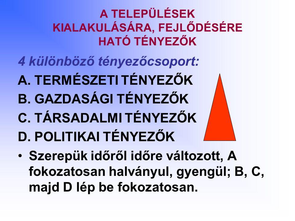 A TELEPÜLÉSEK KIALAKULÁSÁRA, FEJLŐDÉSÉRE HATÓ TÉNYEZŐK